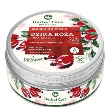 HERBAL CARE Masło do ciała  Dzika róża z olejkiem perilla 200ml (etykieta w wersji angielskiej)