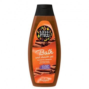 TUTTI FRUTTI Karmel & Cynamon olejek do kąpieli 425 ml (etykieta w wersji angielskiej)