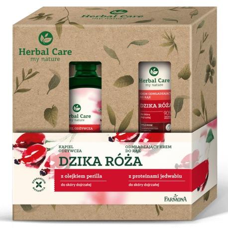 Zestaw Herbal Care pielęgnacja ciała Róża (płyn do kąpieli, krem do rąk)